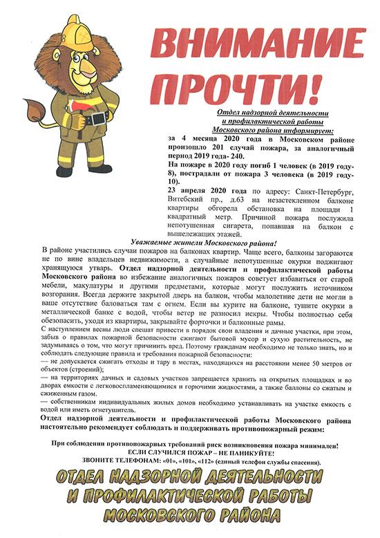 Информация отдела надзорной деятельности 2020