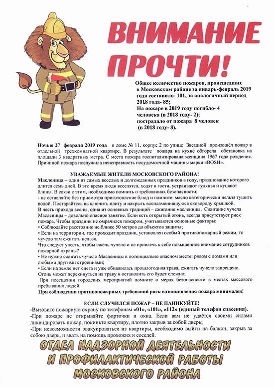 Информация отдела надзорной деятельности за февраль 2019